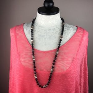 Jewelry - Stunning Black Silver bead metal necklace 38""